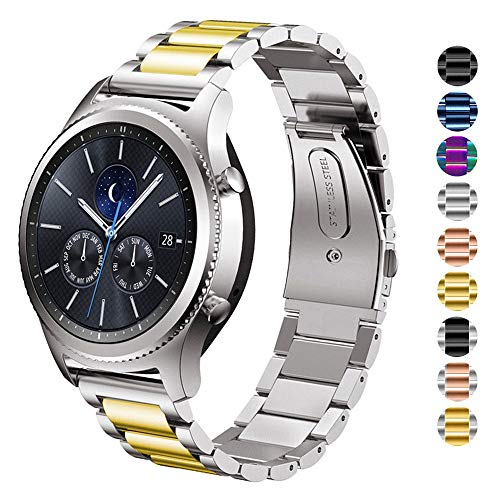DELELE for Samsung Gear S3 / Galaxy Watch Band, 22mm Solid Stainless Steel Metal Business Replacement Bracelet Strap for Samsung Gear S3 Frontier/Classic / Galaxy Watch 46mm Women Men (Silver-Gold)
