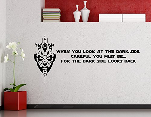 Sith Art (Darth Maul Wall Decals Star Wars Poster When You Look At The Dark Side Quote Vinyl Sticker Home Teen Star Wars Characters Galaxy Devil Sith Lord Kids Room Nursery Art Decor Stencil Mural (40sw))