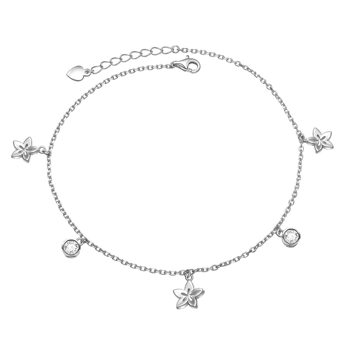 JZMSJF Anklet Bracelet for Women 925 Sterling Silver Flower Pendant Anklet Chain CZ Foot Anklet Bracelet Summer Beach Jewelry for Women Girls,Length Adjustable