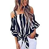 Spbamboo Women's Cold Shoulder Striped Spaghetti Strap Shirt Tie Knot Blouse Top