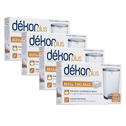 Diaper Dekor Plus Refills 2 Count,(Pack of 4) by Diaper Dekor