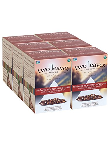 Two Leaves and a Bud Organic Mountain High Chai Black Tea Bags, 15 Count (Pack of 6) Organic Whole Leaf Black Tea in Pyramid Sachet Bags, Delicious Hot or Iced with Milk or Sugar or Honey or Plain