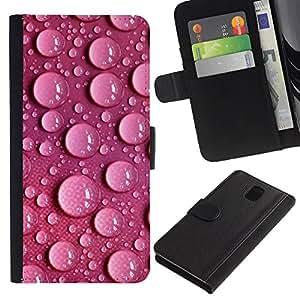 """Be-Star la tarjeta de Cr¨¦dito Slots PU Funda de cuero Monedero caso cubierta de piel Para Samsung Galaxy Note 3 III ( Burbujas del agua Dots Pink Wallpaper Design"""" )"""