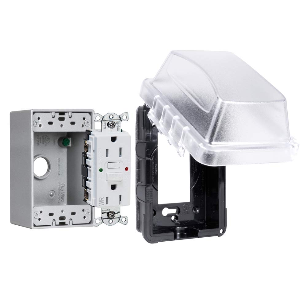 TayMac MKG410CS 1-Gang Receptacle Gray Hubbell WR//TR 15 AMP Self Test GFCI Box Complete Kit Standard in-Use Cover