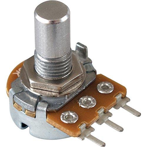 Pot - 25K Audio, 16mm, 1/4 in. Solid Shaft, PC lead, Set Screw