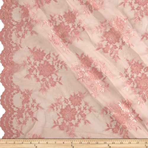 Ben Textiles Chantilly Lace Double Border Fabric by The Yard, Mauve