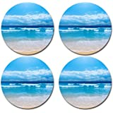 Scenic Beach Ocean Sand Rubber Round Coaster set (4 pack) Great Gift Idea