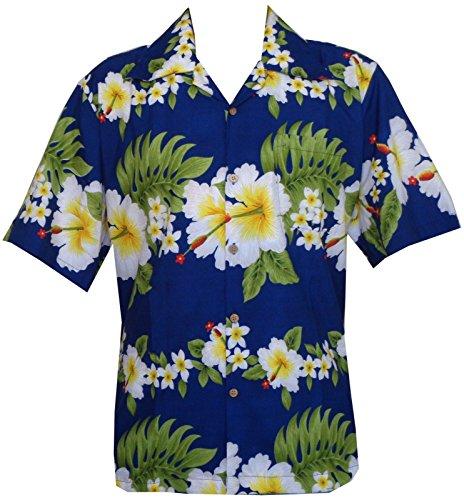 Alvish Hawaiian Shirt 10A Mens Cross Hibiscus Flower Print Beach Party Aloha Blue (Hibiscus Flower Print)