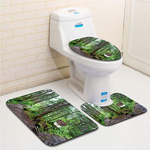 MTSJTliangwan 3-Piece Bathroom Set, Bathroom Rug + Contour pad + lid Toilet seat, Path to John Muirs Cabin Comfortable Flannel Rug