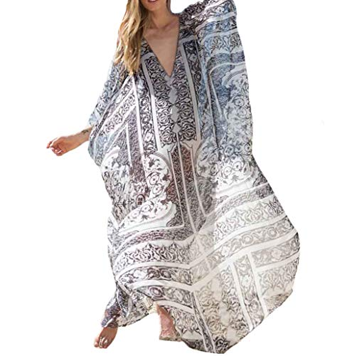 (Bestyyou Women's Chiffon Long Caftan Lounger Printed Kaftan Dress Plus Size Swimsuit Bikini Cover Up Swimwear (Printed)