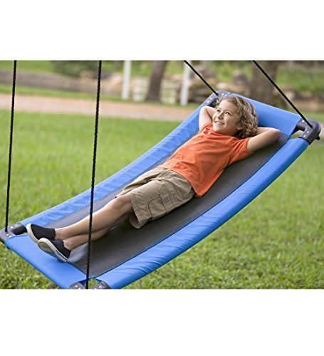 HearthSong SkyCurve Hanging Platform Rope Tree Swing for Multiple Children, Padded Steel Frame, Weather Resistant Fabric Mat, 400 LB Max Weight, 60 L x 32 W by HearthSong
