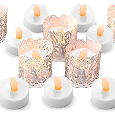 Frux Home and Yard 24 Flameless Flickering LED Tea Light Battery Operated Candles, Holders and Silver Decorative Votive Wraps Included: Home & Kitchen