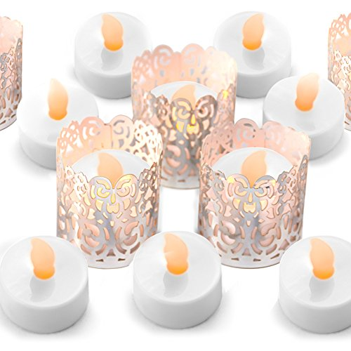 Votive Candle Wraps - Frux Home and Yard FLAMELESS Tea Light Set 24 Flickering LED Battery Tealight Candles Silver Decorative Votive Wraps Included