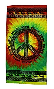 Cotton Beach Towels Tribal Peace Sign Cotton Tie-Dye Beach Towel 30 X 60 In 30 X 60 X 0.13 Inches Multicolored