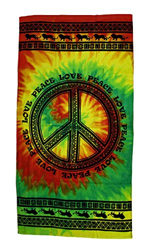 - Zeckos Tribal Peace Sign Cotton Tie-Dye Beach Towel 30 X 60 in