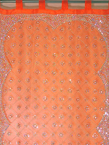 NovaHaat Sheer Organza Tissue Fabric Indian Window Treatments in Shimmering Orange with Zardozi 100% Hand Embroidery, bead and sequin work - Each Panel is 92in L x 42in W