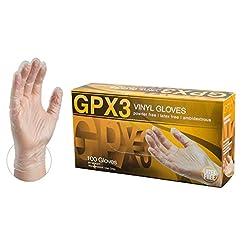 GPX3 Industrial Clear Vinyl Gloves - 3 m...