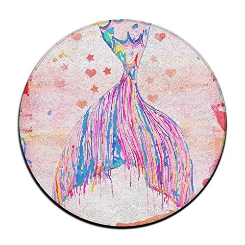 Rubber Mermaid Tails (Mermaid Tail Non-slip Mats Circular Carpet Mats Dining Room Bedroom Carpet Floor Mat 23.6 Inch)