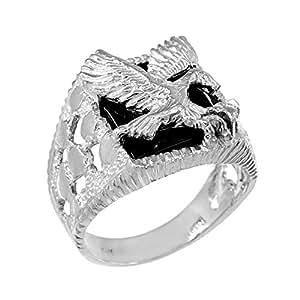 Men's Black Onyx American Eagle Open Nugget Ring in 10k ...