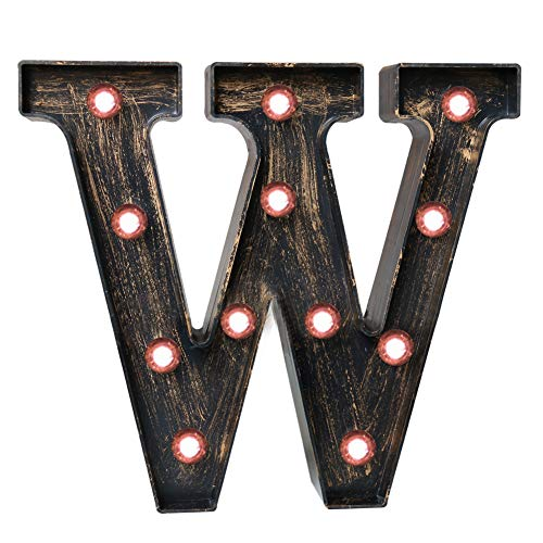 Pooqla Vintage Light Up Marquee Letters with Lights - Illuminated Industrial Style Lighted Alphabet Letter Signs - Coffee Bar Apartment Bedroom Wall Home Initials Decor - W ()