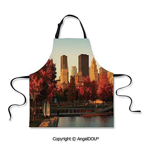 (SCOXIXI Kitchen Bib Apron with Adjustable Neck Old Port of Montreal Early in The Morning Scenic Autumn Trees Buildings Canada Cooking Home Cleaning)