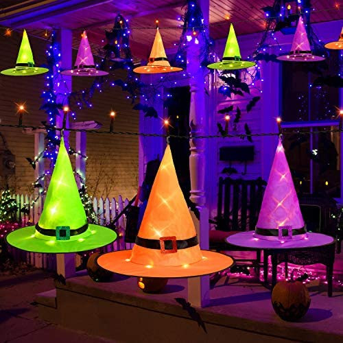 Brizled Halloween Decoration, 6 PCS Lighted Witch Hats String Lights Battery Operated, 8 Mode Halloween Glowing Hat Lights, Orange Purple Green Witch Hats with Light for Party Yard Outdoor Garden Tree