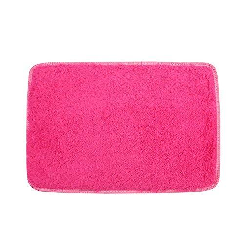 Sothread 50x80cm Non-slip Rectangle Fluffy Shaggy Carpet Mat Bedroom Area Rug Home Decor (Hot Pink) -