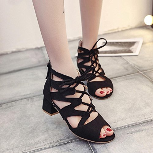 Scarpe Blocco a Donne Medio Elegante Scamosciato Scamosciato Elegante Tacco Nero Sandalo   b24b27
