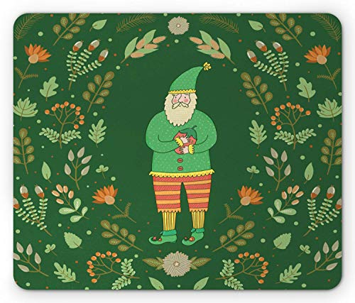(SHAQ Gnome Mouse Pad, Botanical Herbs Branches Flowers with Man Figure with a Beard Classic Motif, Standard Size Rectangle Non-Slip Rubber Mousepad, Forrest Green Ginger)