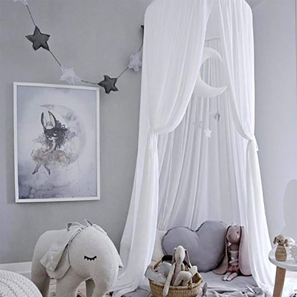 Piu Fashion Bed Canopy Dream Tent Curtains and Crib Canopy for Girls and Boys Bedding Game House-White