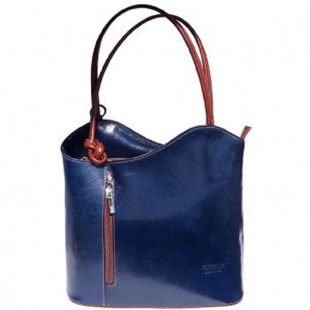 LaGaksta Easy Carry Italian Leather Convertible Backpack Shoulder Purse Medium Blue-Brown