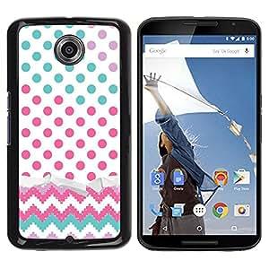 Be Good Phone Accessory // Dura Cáscara cubierta Protectora Caso Carcasa Funda de Protección para Motorola NEXUS 6 / X / Moto X Pro // Dot Chevron Teal Pink