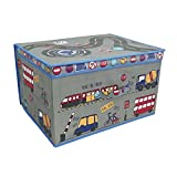 Travel Foldable Pop up Room Tidy Storage Chest Toy Box for Girls and Boys, Fabric, Grey, 50 x 30 x 40 cm