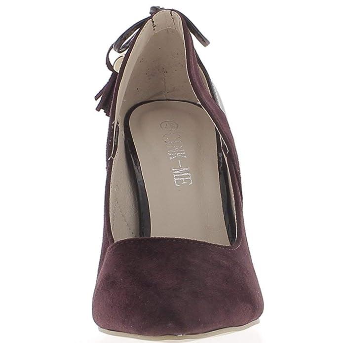 d2f11b21d7d5 Escarpins Prune à Talons Hauts de 10 cm Bouts Pointus bi matière:  Amazon.fr: Chaussures et Sacs