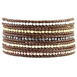 Chan Luu Multi Nugget Sectioned Wrap Bracelet on Brown Leather