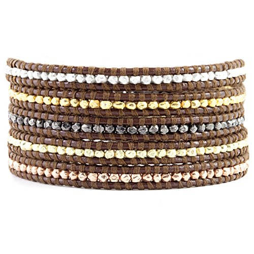Chan Luu Multi Nugget Sectioned Wrap Bracelet on Brown Leather by Chan Luu
