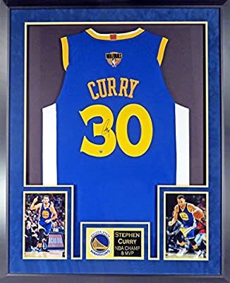 60ea583728f Golden State Warriors Stephen Curry Autographed Blue Jersey w 2018 Finals  Patch (Deluxe Patch) Framed