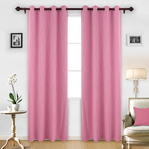 Deconovo Printed Pink Blackout Curtains Set of 2 Wave Line with Dots Light Blocking Curtains for Girls Room 52 x 95 Inch Baby Pink 2 Drapes (Waves Two Light)