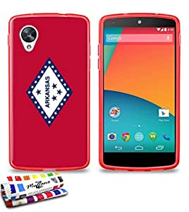 Carcasa Flexible Ultra-Slim GOOGLE NEXUS 5 de exclusivo motivo [Arkansas Bandera] [Roja] de MUZZANO  + ESTILETE y PAÑO MUZZANO REGALADOS - La Protección Antigolpes ULTIMA, ELEGANTE Y DURADERA para su GOOGLE NEXUS 5