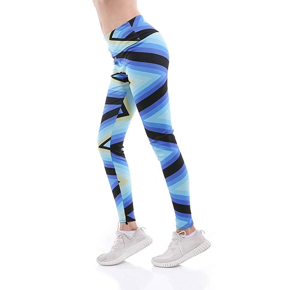 Mrsrui Womens Floral Leggings Skinny Exercise Tights Fitness Sport Workout Casual Pants