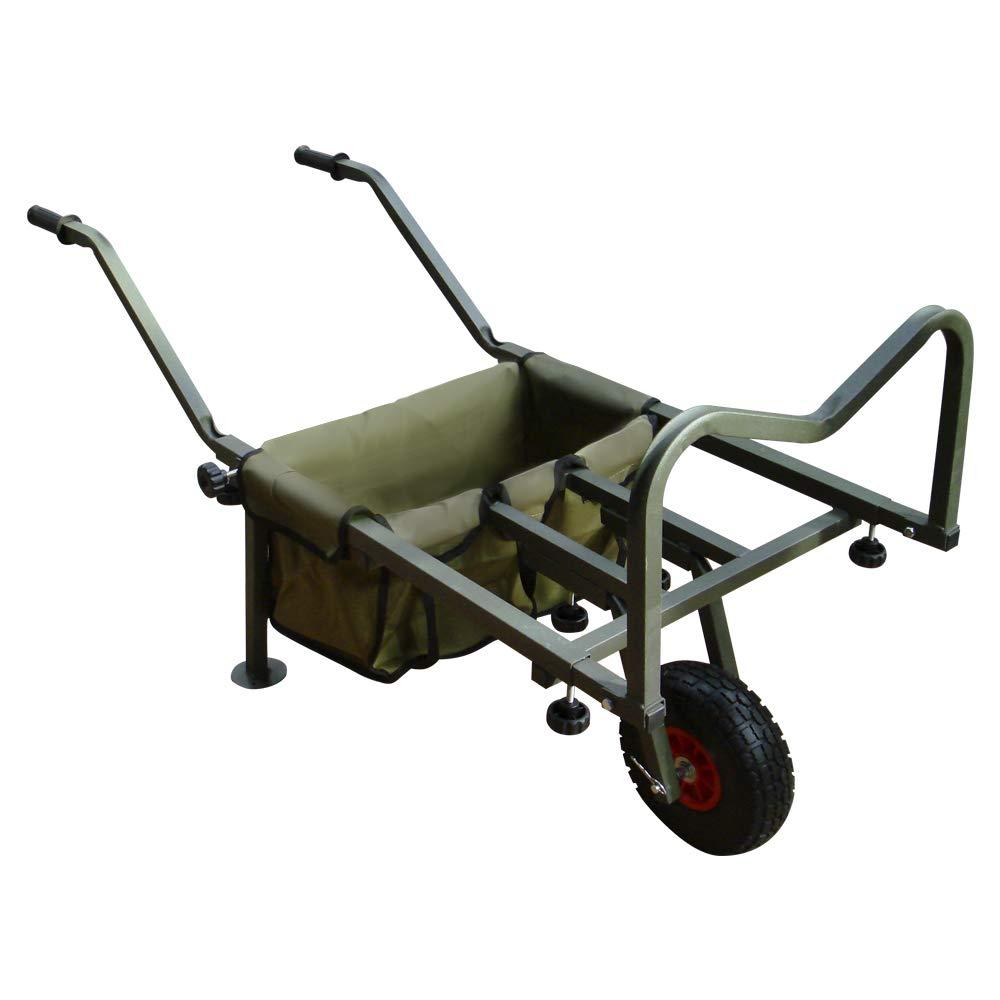 Rocwood Fishing Trolley 2 Pneumatic Wheel Folding Barrow Cart with Bag Adjustable Legs