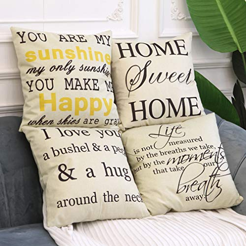 LEIOH Farmhouse Decorative Pillow Covers Set of 4 Home Sweet Home Inspirational Quotes Sofa Throw Pillow Covers Cotton Linen Cushion Cover 18 x 18 Inc ()