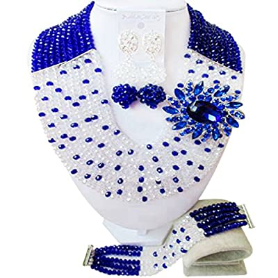 Hot laanc Nigerian Beads African Wedding Popular Season Womens 10 Layers Crystal Bridal Jewelry Sets free shipping