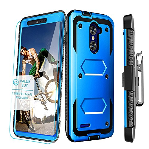 ZTE ZMAX PRO Case, AIDEA [Raiden Series] with FREE Tempered Glass Screen Protector Dual Layer Full-Body Rugged Holster Case [Belt Swivel Clip][Kickstand] for For ZTE ZMAX PRO / ZTE Carry (Blue) - Pro Armor Guards
