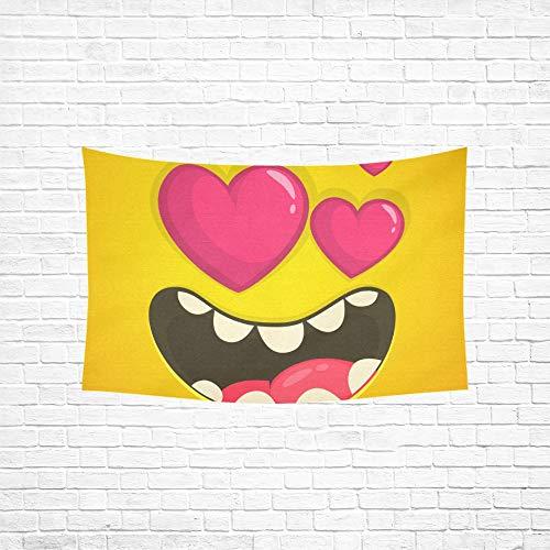 Jnseff Tapestry Cartoon Cool Monster Face Love Heart