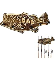 2021 New Fishing Rod Holder - Wood Large Mouth Bass Decor-Fishing Rod Holder with 6 Rod Holder, Wall Mounted Fishing Rod Rack, Father's Day Unique Gift