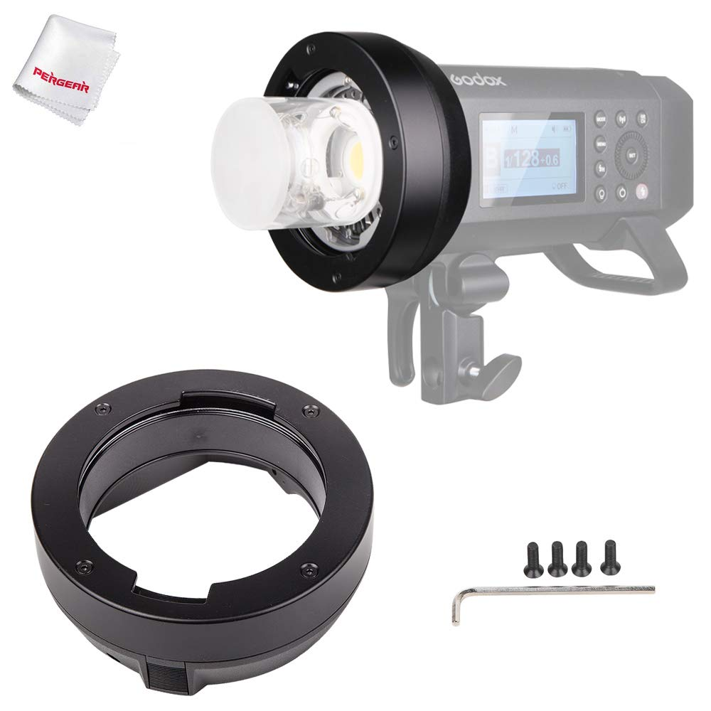Godox AD400Pro Interchangeable Mount Ring Adapter for Broncolor Mount Accessories with Pergear Cleaning Cloth