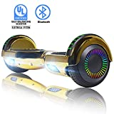 """SWEETBUY Hoverboard UL 2272 Certified 6.5"""" Two-Wheel Self Balancing Electric Scooter with LED Light Flash Lights Wheels BLUE (free carry bag)"""
