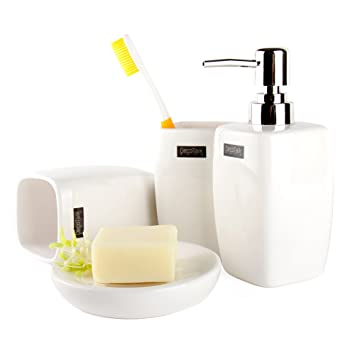 WEIYUSJT ZYNY Simples y Modernos Accesorios de baño de cerámica Cuatro Conjuntos Emulsión Botellas Porta Cepillo de Dientes jabón: Amazon.es: Deportes y ...