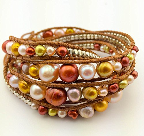 """GingerBird Jewelry """"Copper Wrap"""" Womens Cultured Freshwater Pearl Handmade Multilayered Multiwrap Bracelet for Women 32″"""